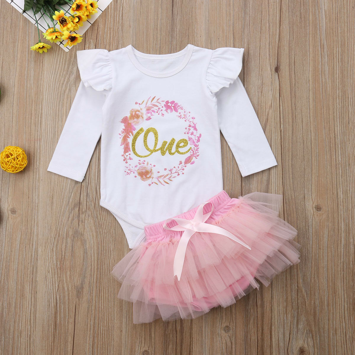 Toddler Baby Girls 1st Birthday Outfits Romper Tutu Skirt Party Dress Costume