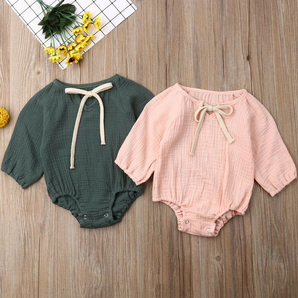 Newborn Baby Boy Girl Solid Cotton Romper Jumpsuit Bodysuit Clothes Outfit