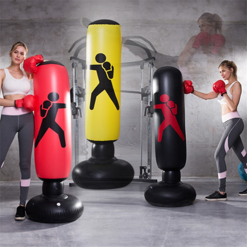 Kids Adults Standing Boxing Punching Bag Inflatable Stand Kick Martial Training