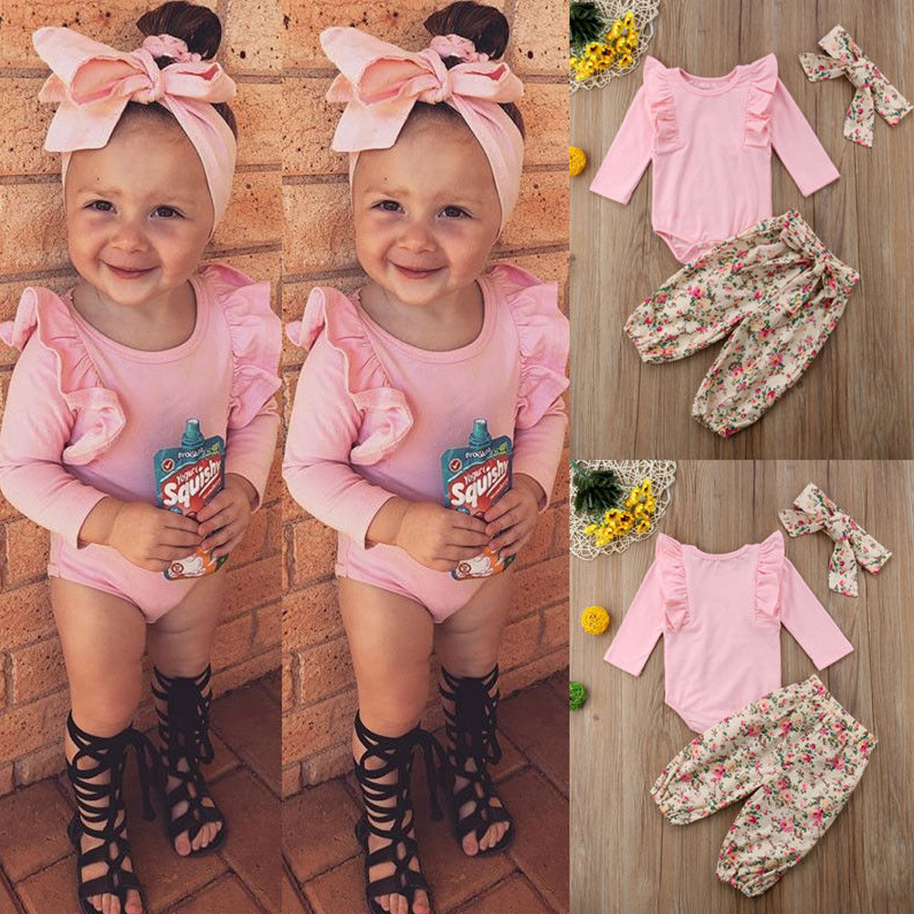 3PCS Newborn Baby Girl Clothes Floral Tops Romper Jumpsuit P