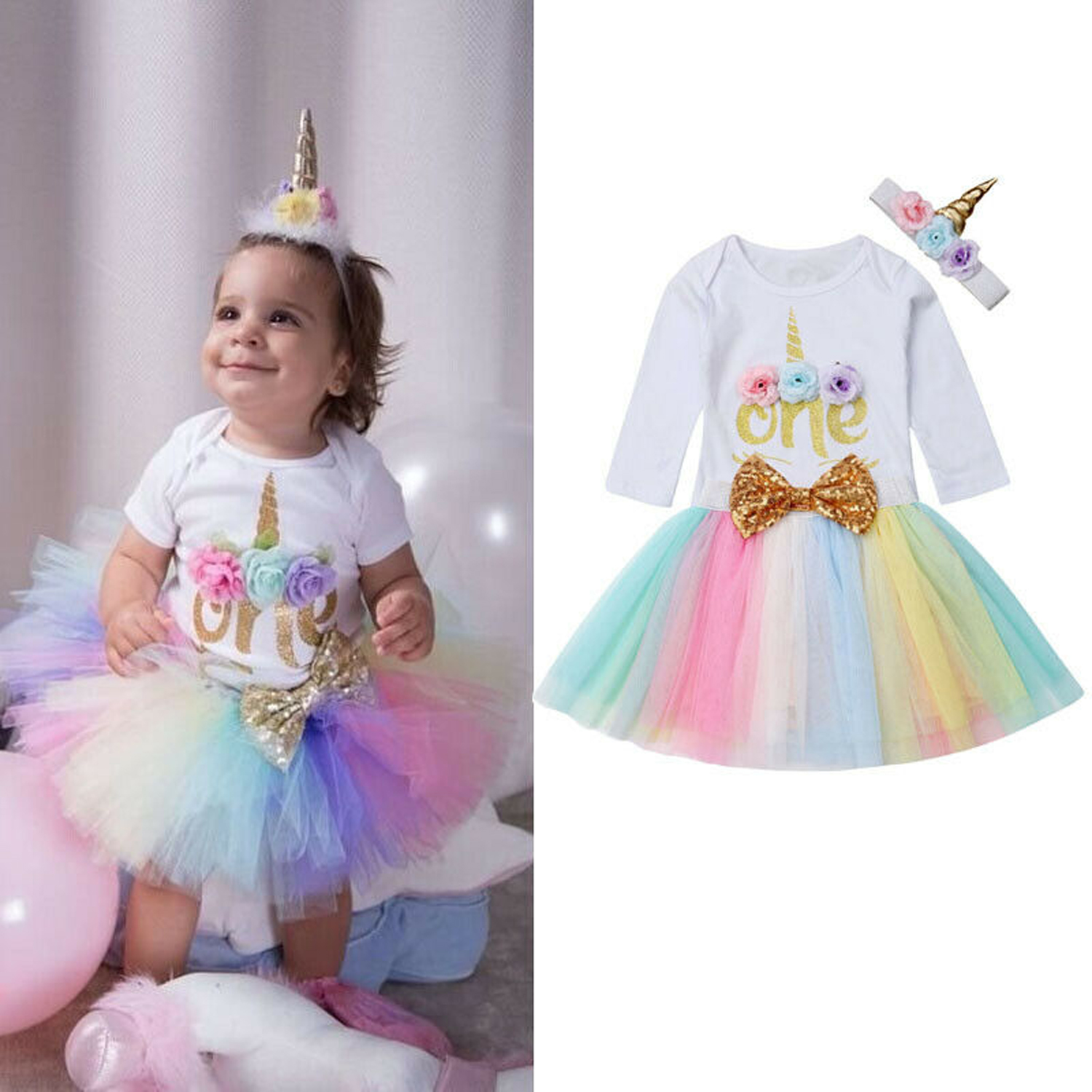 First Birthday Dress Outfits Romper Skirt 3PCS Clothes For Baby Girls