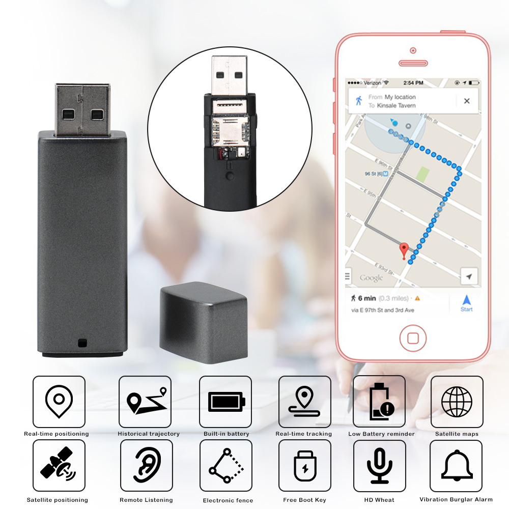 Details about Car GPS Tracker WiFi+LBS+AGPS Locator USB Disk GSM/GPRS APP  Live Tracking Device