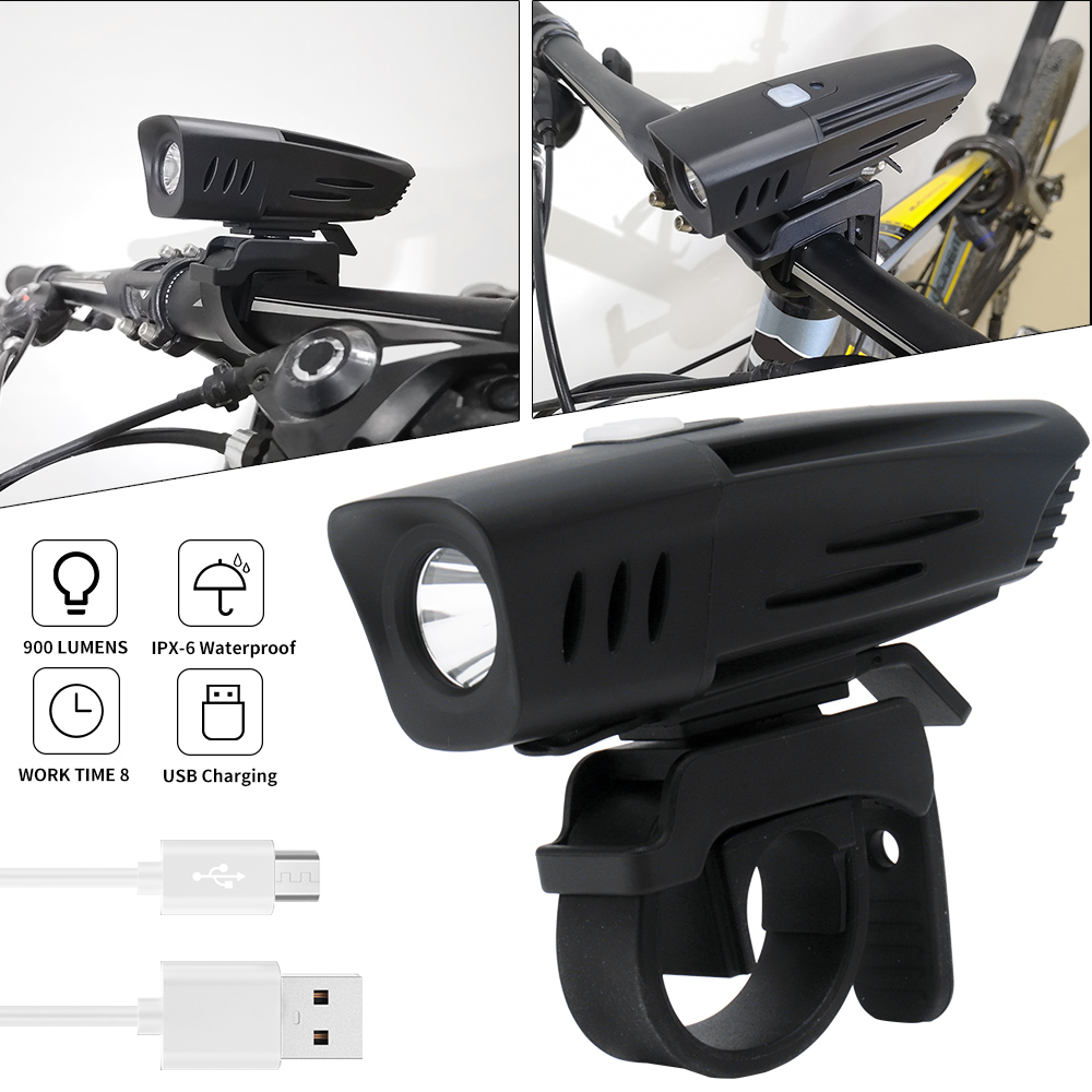 Waterproof Bicycle Light USB Rechargeable LED Lamp 900LM Bike Head Front Torch