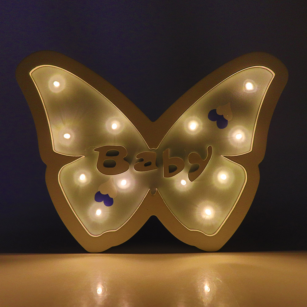 Details about Butterfly LED Night Light Wooden Table Lamp Wall Lamps  Bedroom Living Room Decor