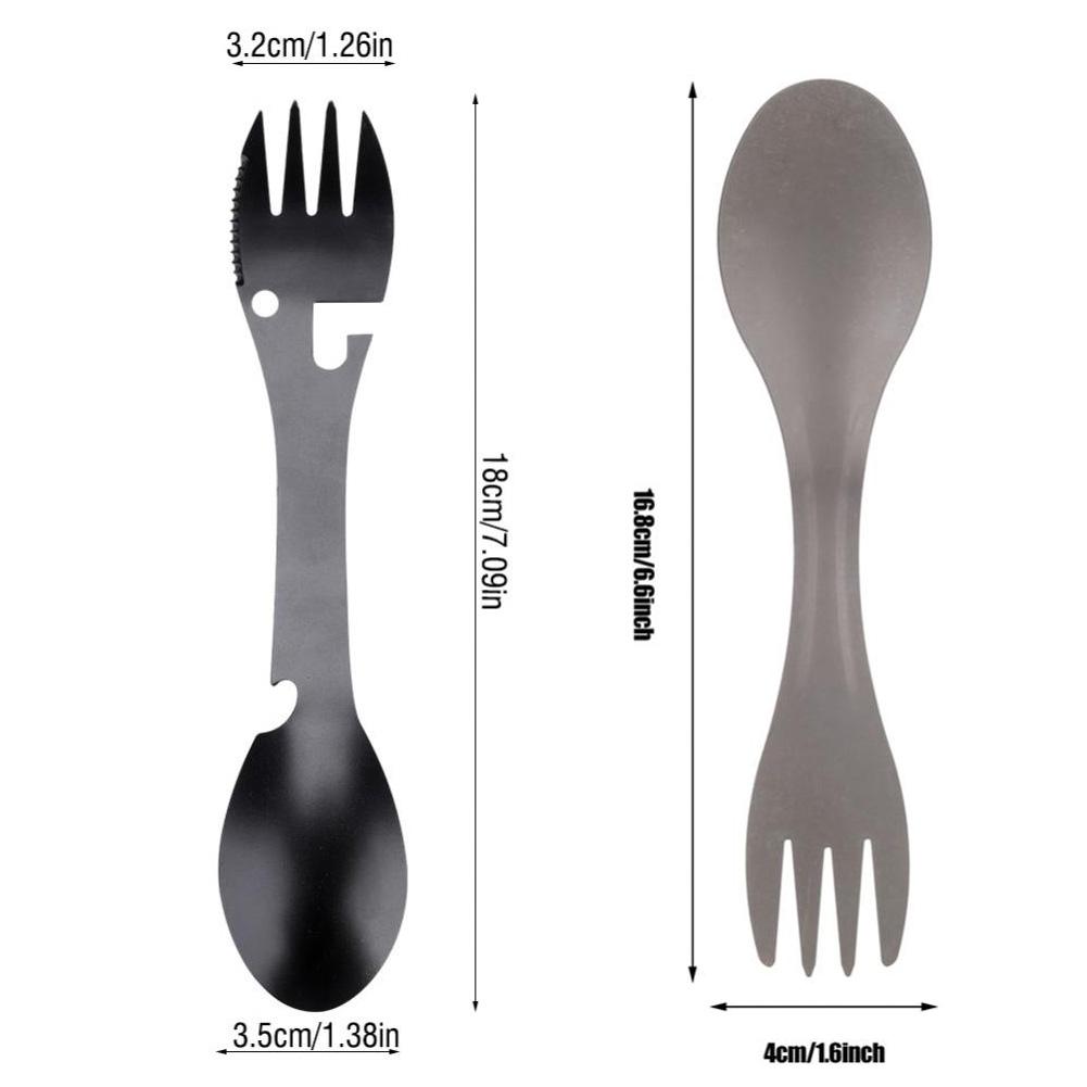 5 in 1 Titanium Fork Spoon Spork Cutlery Utensil Combo Kitchen Picnic Tools vRyL