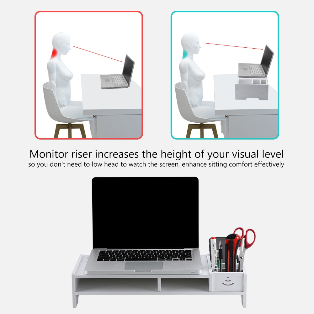"""15/""""//18.9/"""" White Computer Monitor Riser Laptop PC Stand Home Office Desktop Table"""