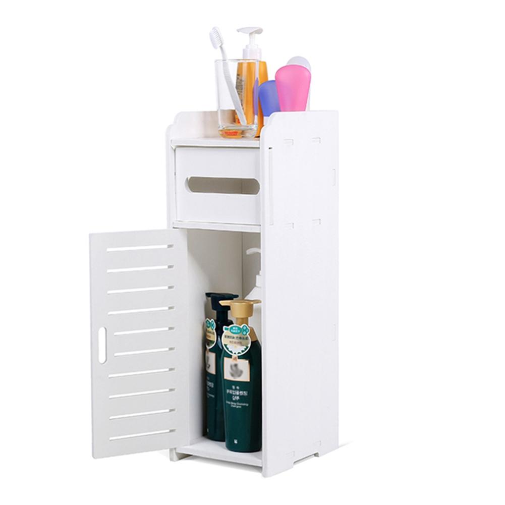 Toilet Bathroom Corner Cabinet White Wood Floor Storage Shelf Organizer Kitchen