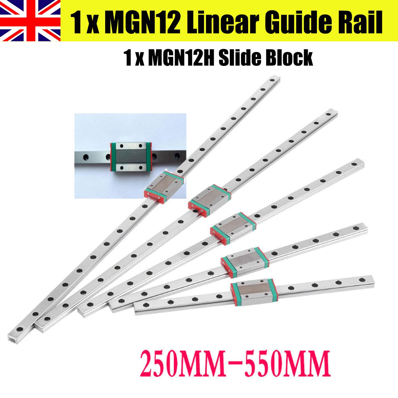 MGN12 Linear Rail Guide 12mm Multi-Length /& 2pc Rail Block MGN12C Slider CNC