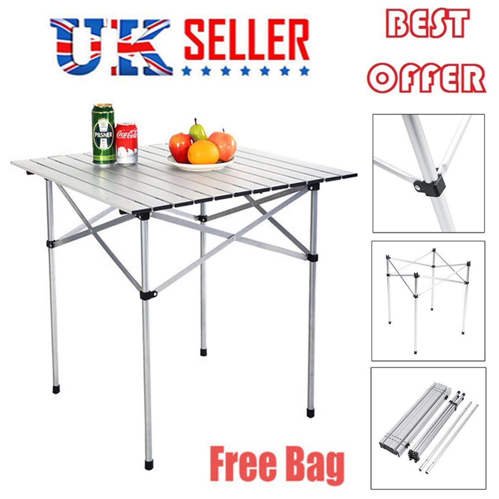 70cm 2ft Aluminium Folding Portable Camping Table Roll Top Picnic Garden Party