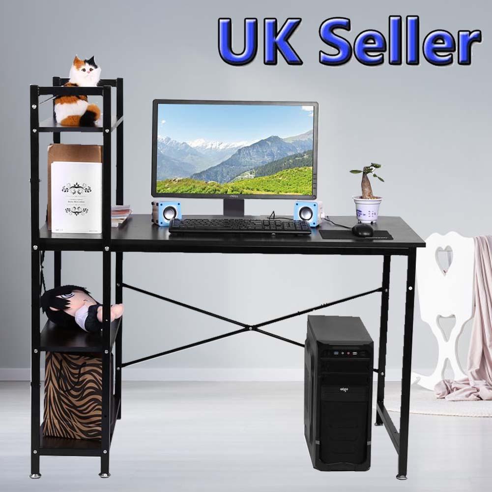 Home Office PC Laptop Table With 4 Shelves Corner Desk UK Corner Computer Desk