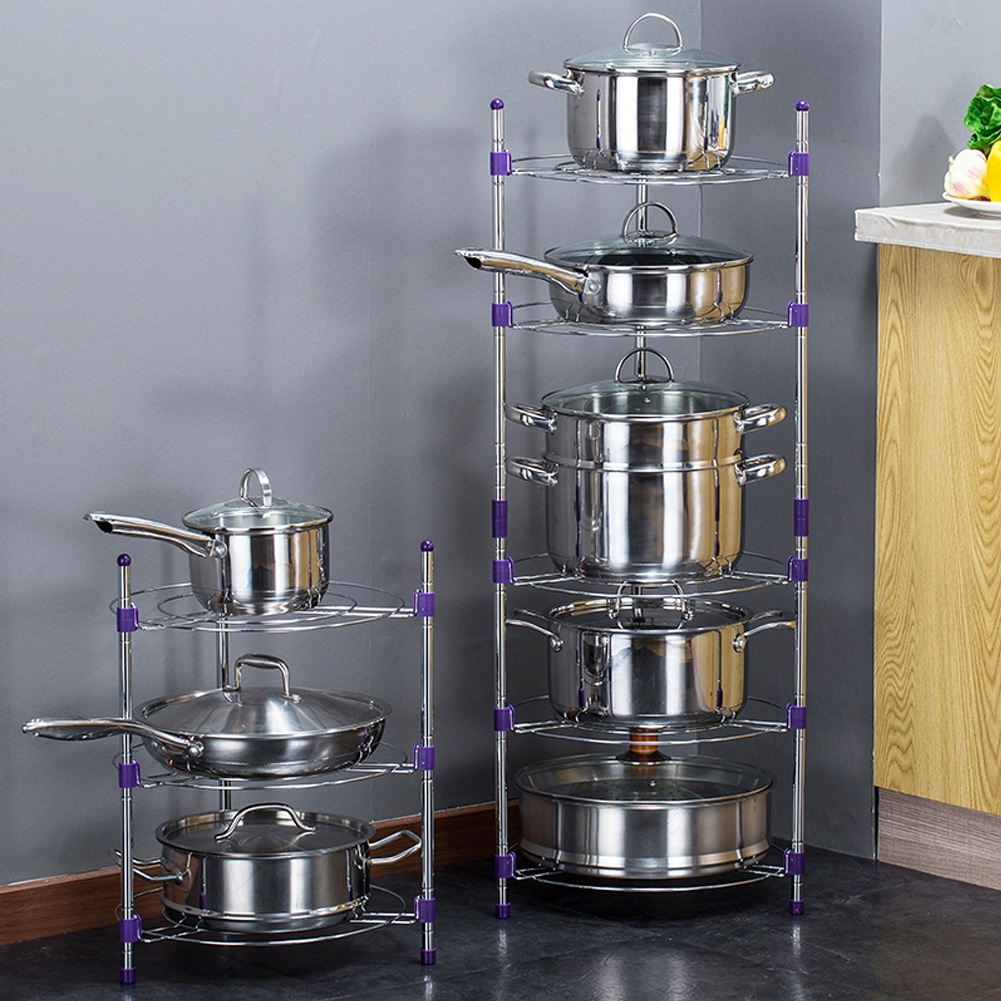 Kitchen Pot Stand 5 Tier Frying Pan Rack Holder Chrome ...