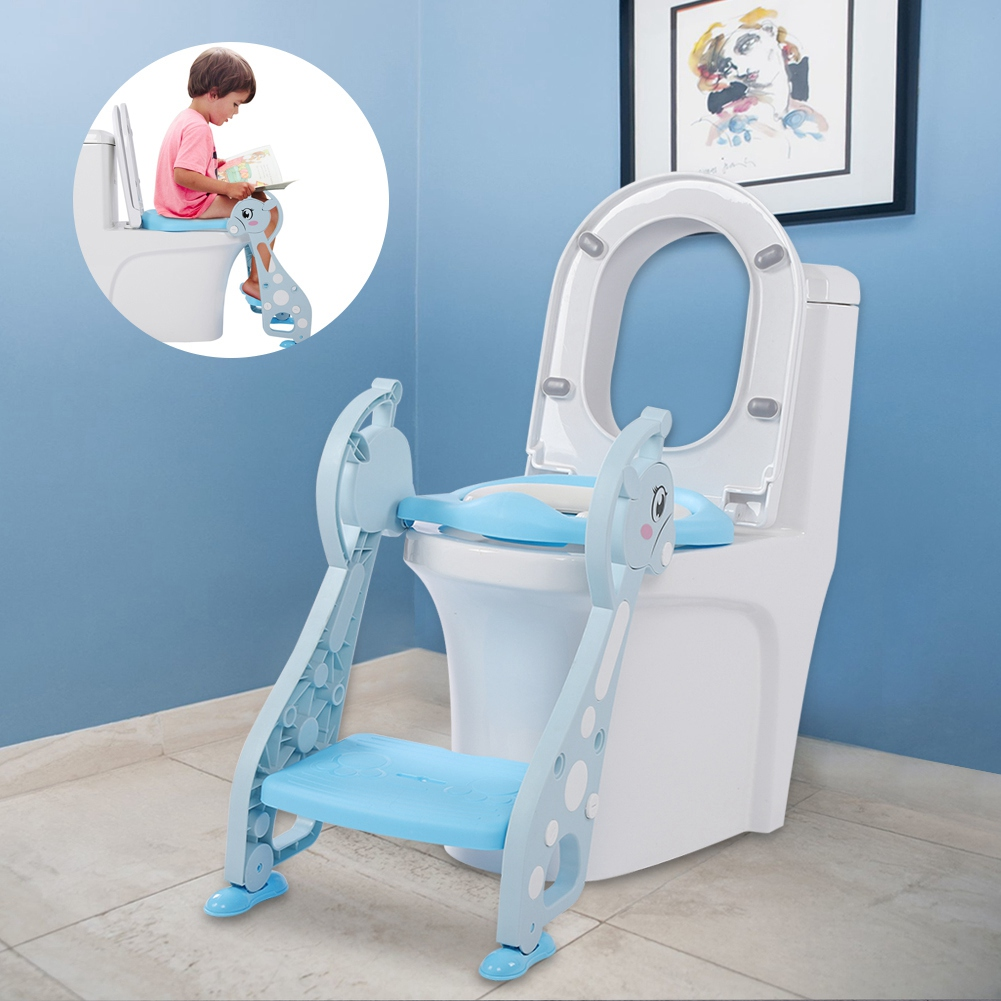 kids potty training seat with step stool ladder toilet chair for child toddler ebay. Black Bedroom Furniture Sets. Home Design Ideas