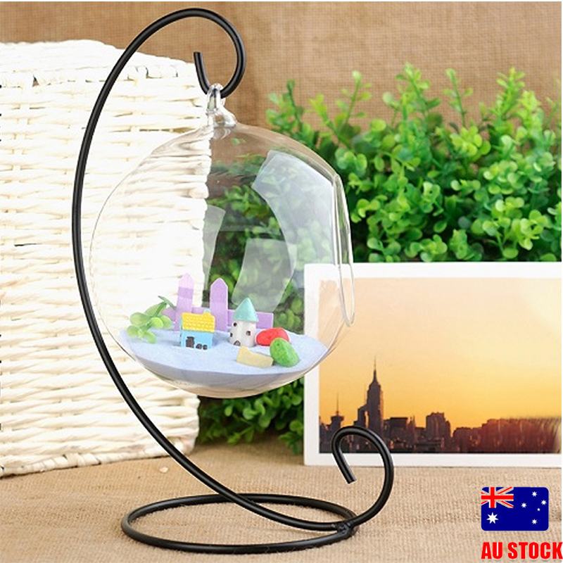 Stand Clear Ball Flower Hanging Vase Planter Terrarium Container