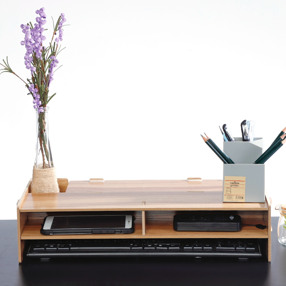 2 Layers TV Monitor Heighten Shelf Stand Desk Phone Keyboard Pencil Case Storage