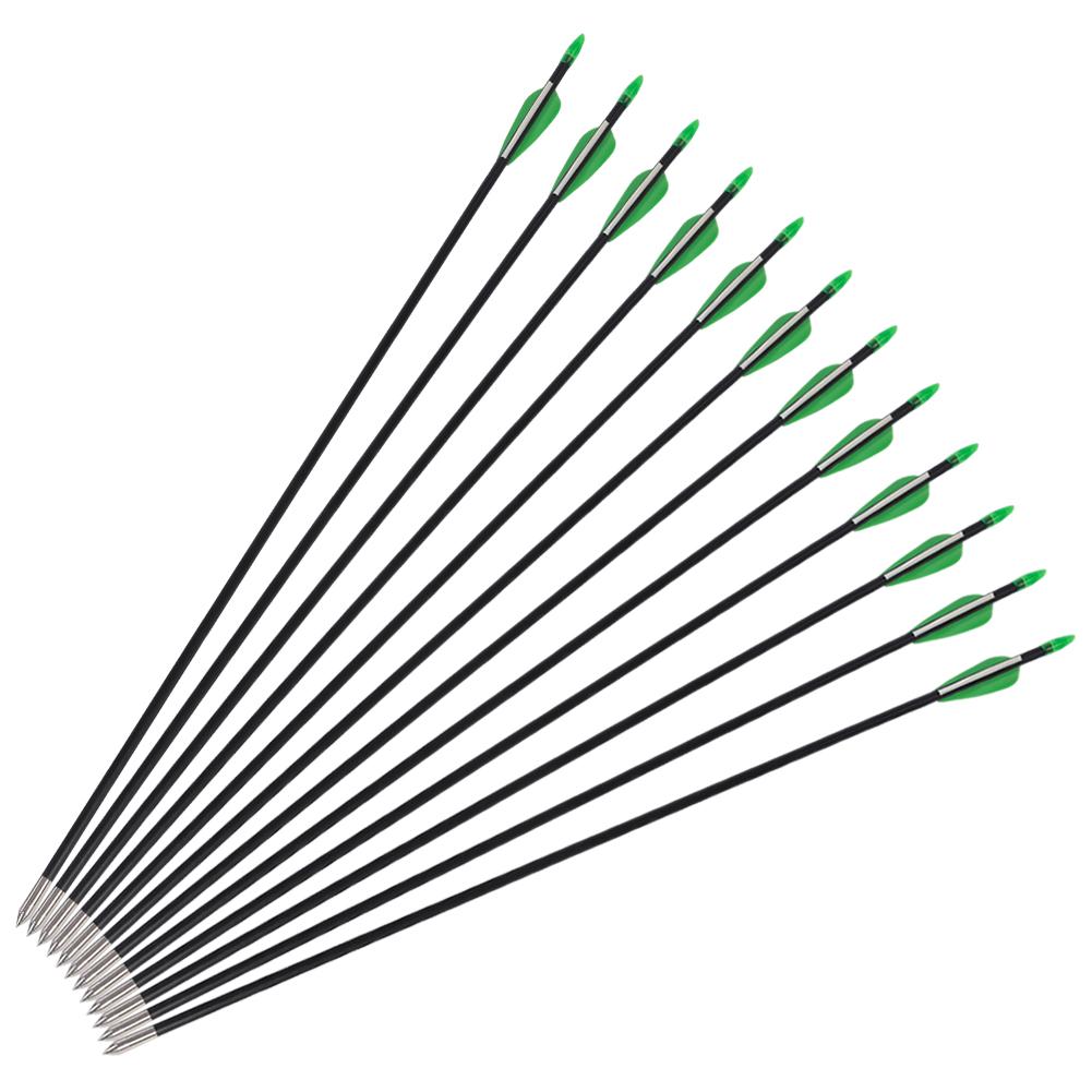 12pcs archery carbon fiber arrows for hunting compound recurve bow  u0026 quiver