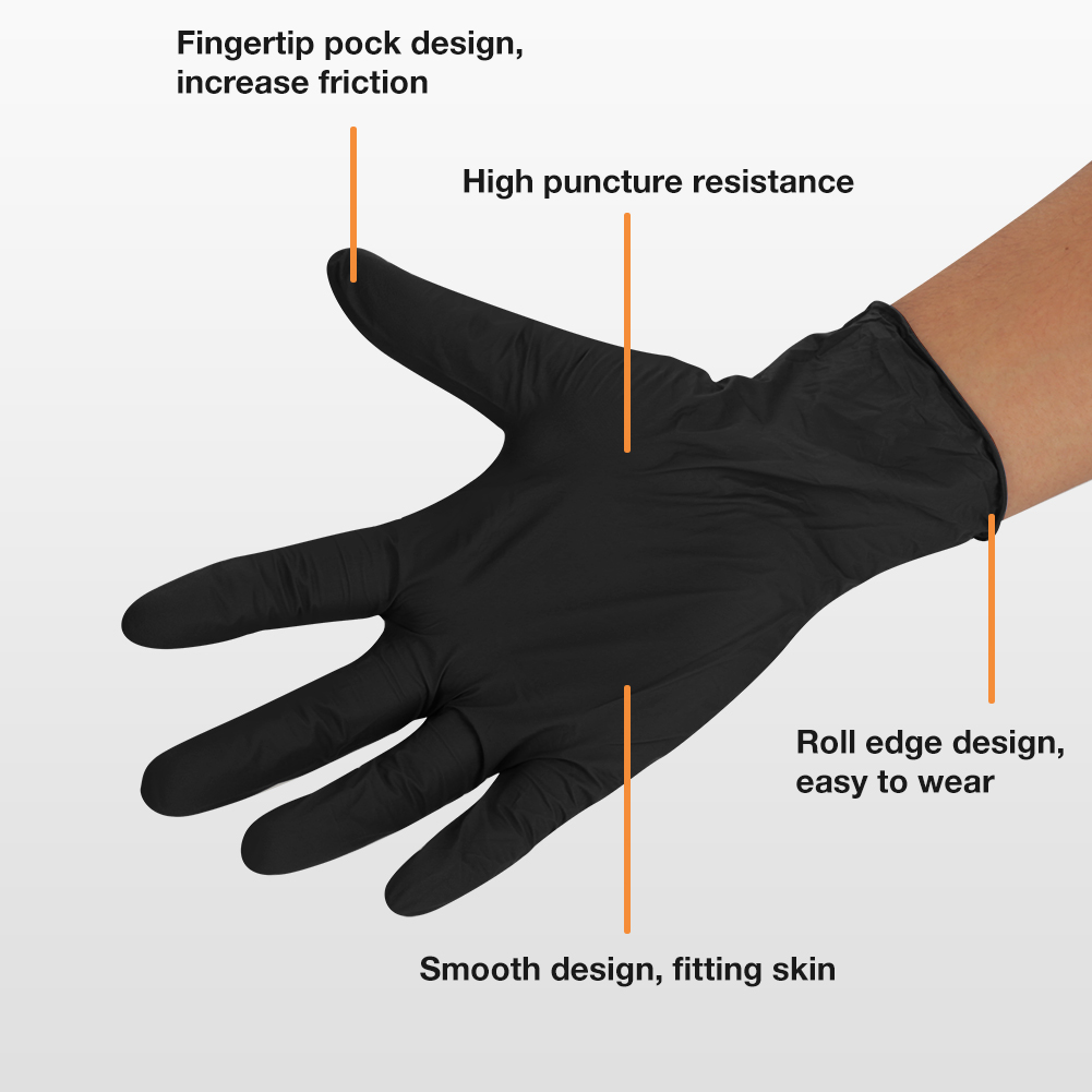 details about 100pc black disposable mechanic nitrile gloves tattoo latex  powder free workshop