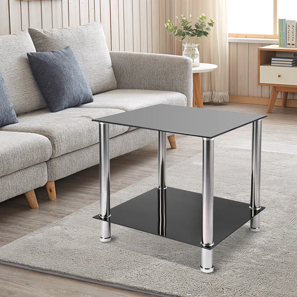 Details about black glass steel 2 tier coffee table living room furniture modern designer new