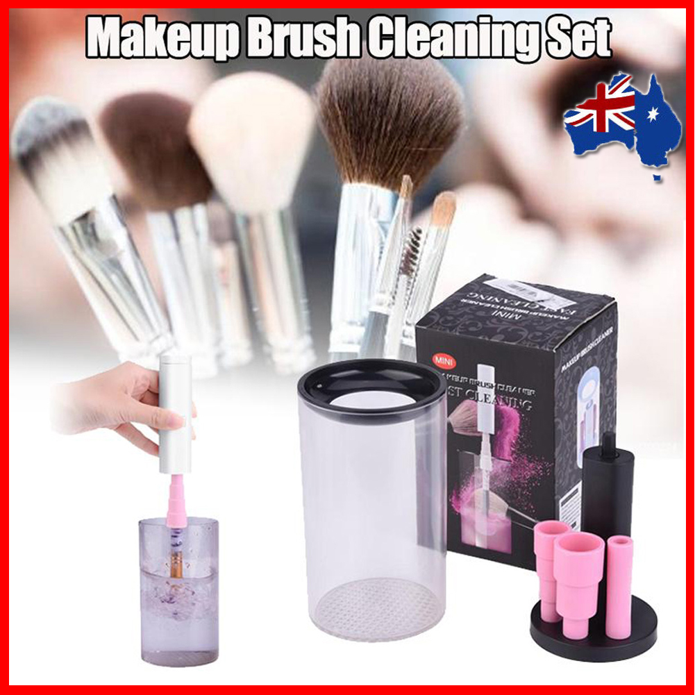 d0f5c9430f81 Details about Electric Cosmetic Wash Dryer Brush Cleaning Tool Kit Makeup  Brush Cleaner Set AU