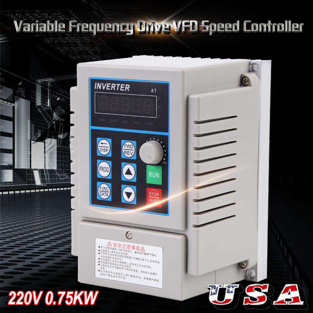 0.75kW 220V Variable Frequency Drive VFD Speed Control Inverter Single Phrase US