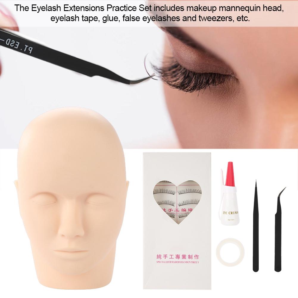 Massage Training Mannequin Flat Head Practice Make Up Model Eyelash