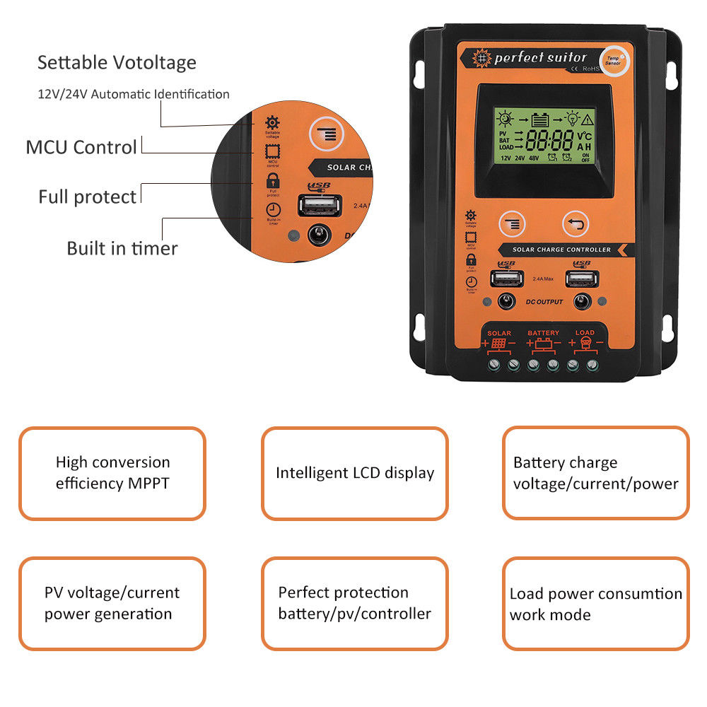 50a 70a Mppt Solar Charge Controller Panel Battery Regulator Charger Circuit Simulator Homemade Dual Usb 12v 24v