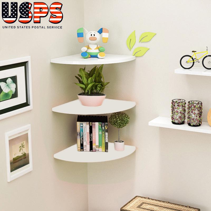 Details About 3 Tier Modern Floating Corner Shelf Wall Mount Display Shelves Home Decoration