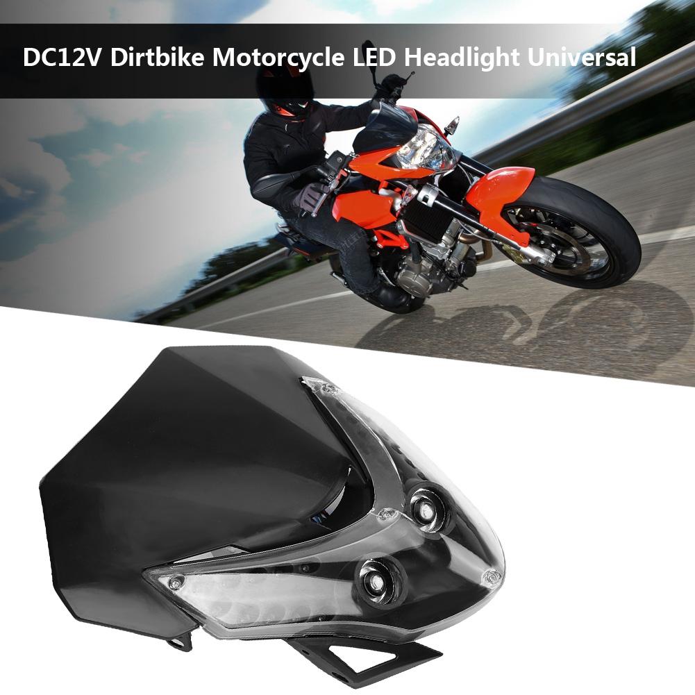 Black LED Headlight Head Lamp Fairing Motorcycle Dirt Bike