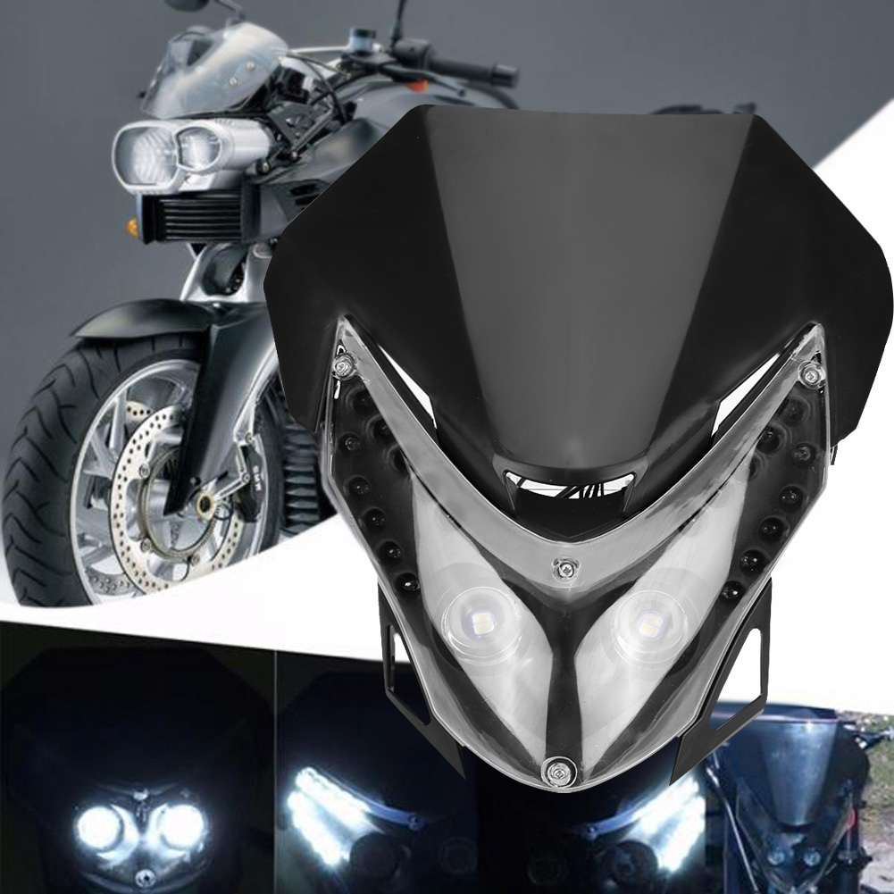 Black LED Head Light Motorcycle Dual Sport Naked Lamp For