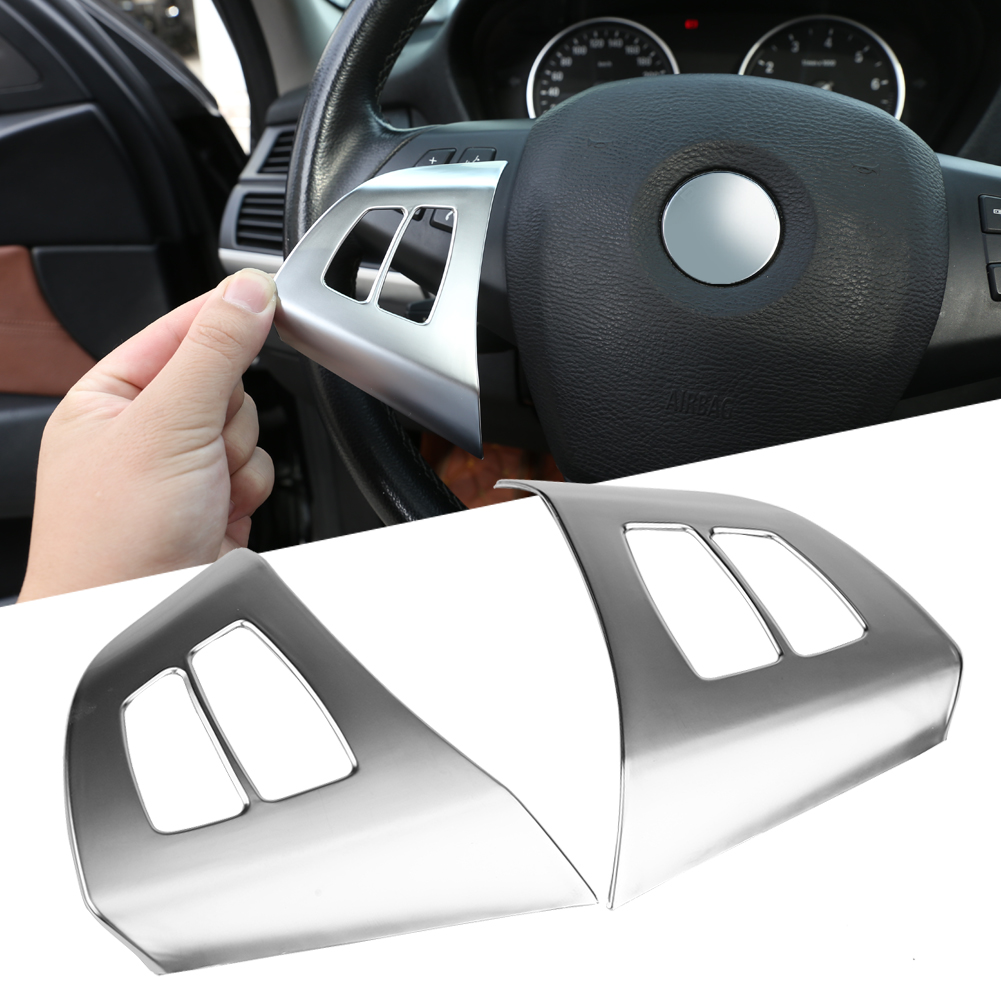 2x ABS Chrome Steering Wheel Button Frame Cover Trim For