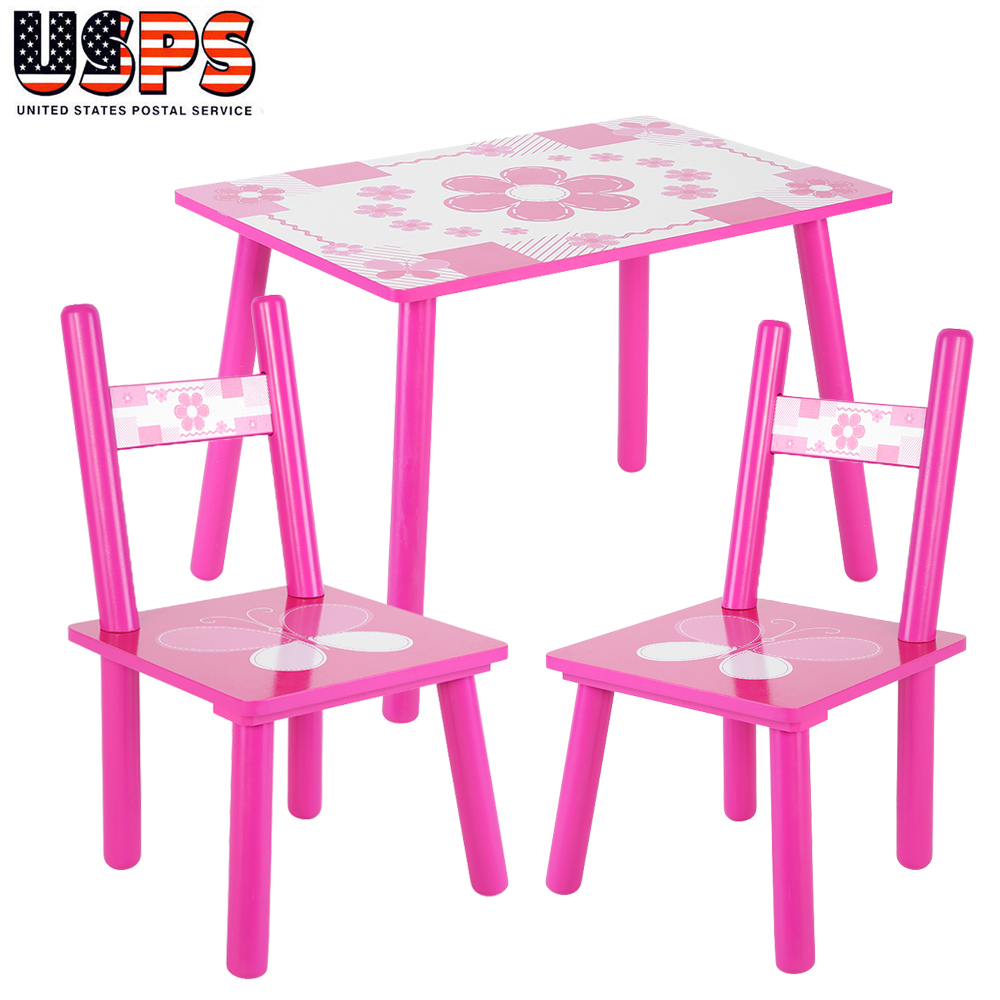 Fantastic Details About 3Pcs Kids Table And 2 Chairs Dining Set Toddler Baby Desk Furniture Home School Theyellowbook Wood Chair Design Ideas Theyellowbookinfo