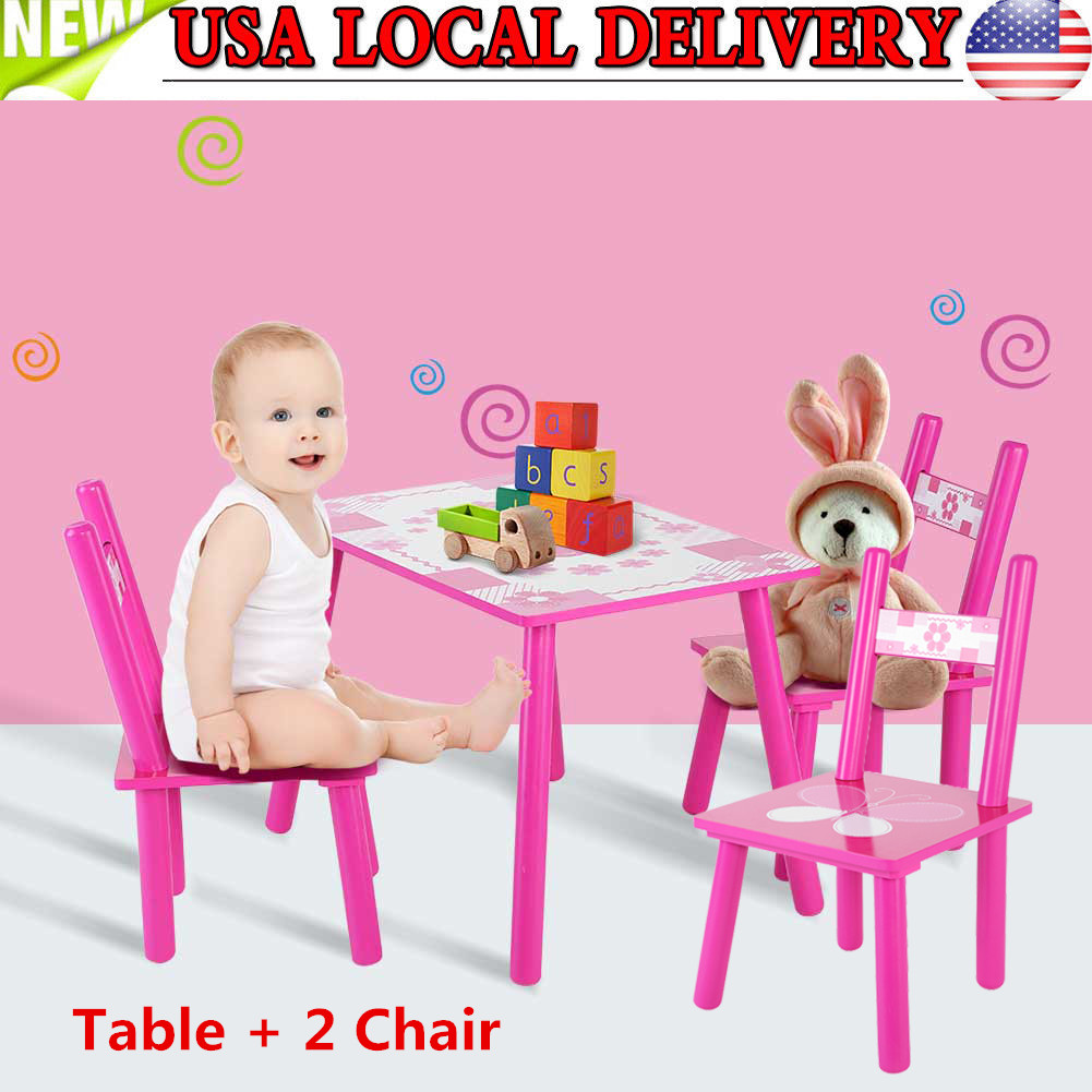 Awe Inspiring Details About 3Pcs Kids Table And 2 Chairs Dining Set For Toddler Baby Gift Desk Furniture Complete Home Design Collection Barbaintelli Responsecom