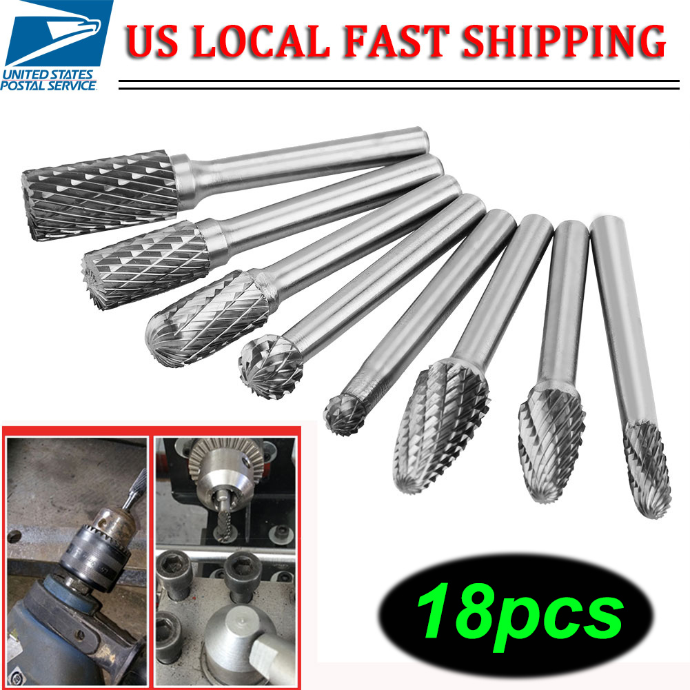 "10 Pcs 1//8\/"" 6mm Tungsten Carbide Cutter Rotary Burr Set CNC Engraving Bit Tool"