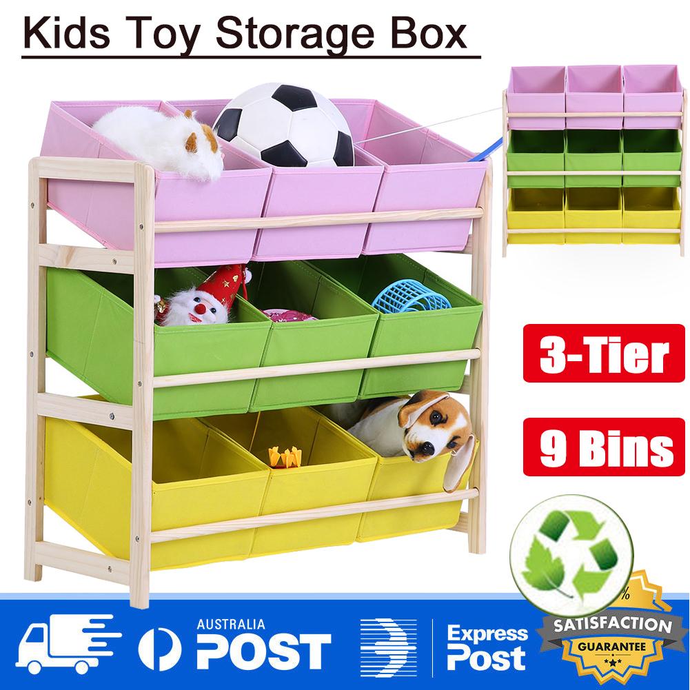 9 Bins Kids Toy Box Book Storage Shelf Organizer Bookshelf Display
