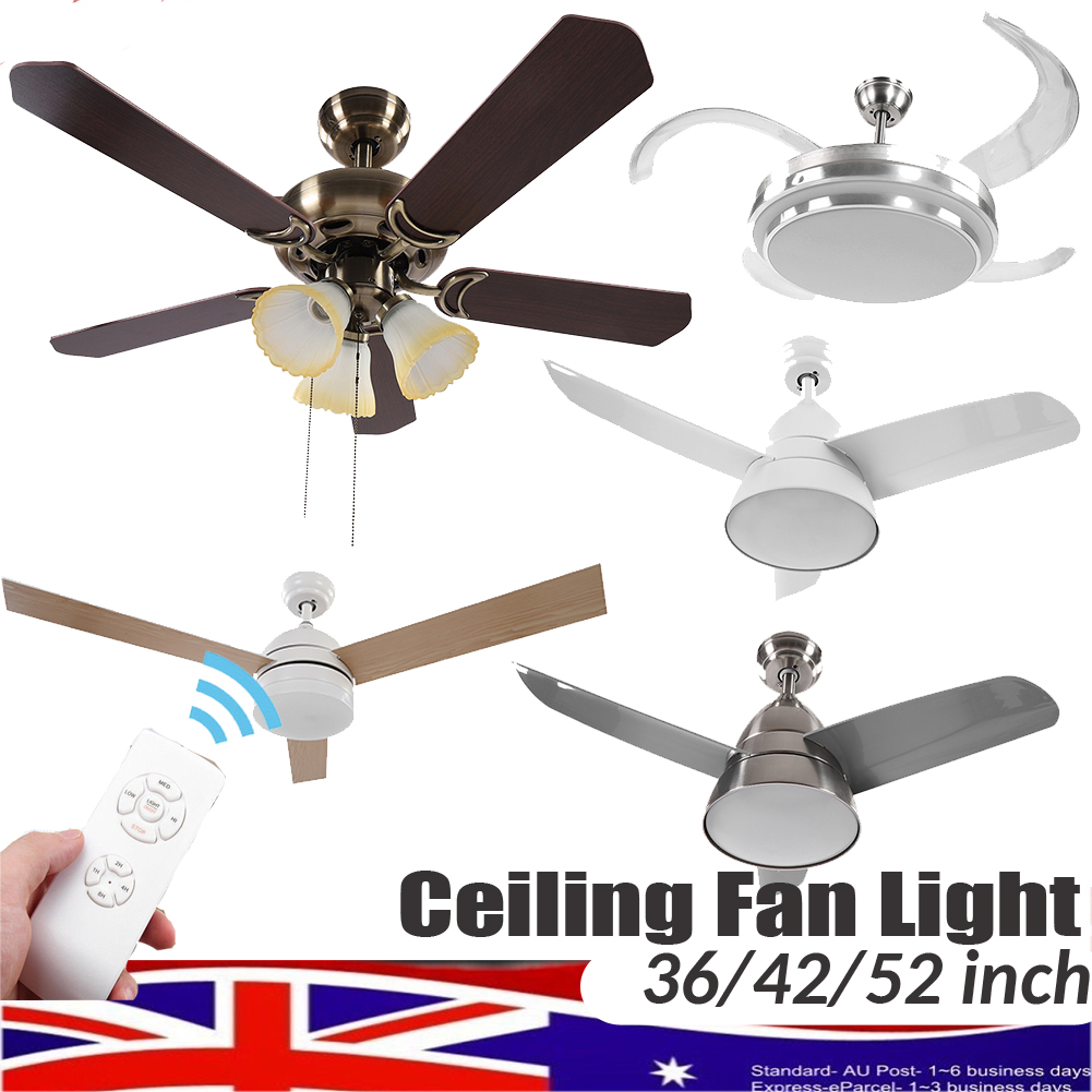 36 42 52 Inch Ceiling Fan With Led Light Dimming Timming With Remote Control Ebay