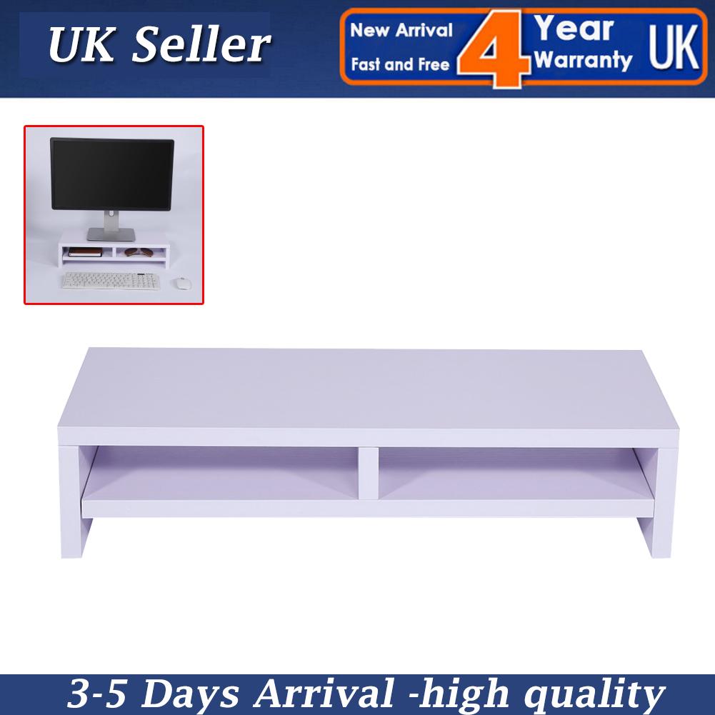 White Wooden Desktop Monitor Stand Tv Laptop Display Screen Riser