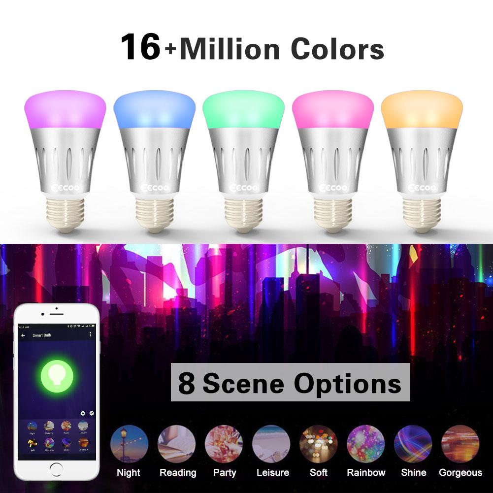 wifi smart multi color led light bulb dimmable night light bulb 7w app control ebay. Black Bedroom Furniture Sets. Home Design Ideas