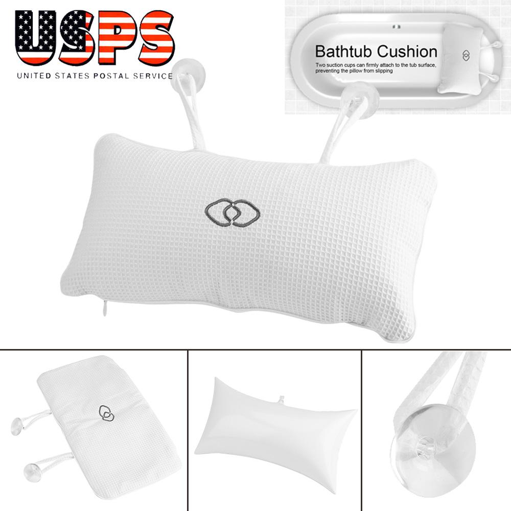 Anti-slip Bathtub Pillow Spa Bath Cushion Head Neck Rest Relax w// Suction Cup
