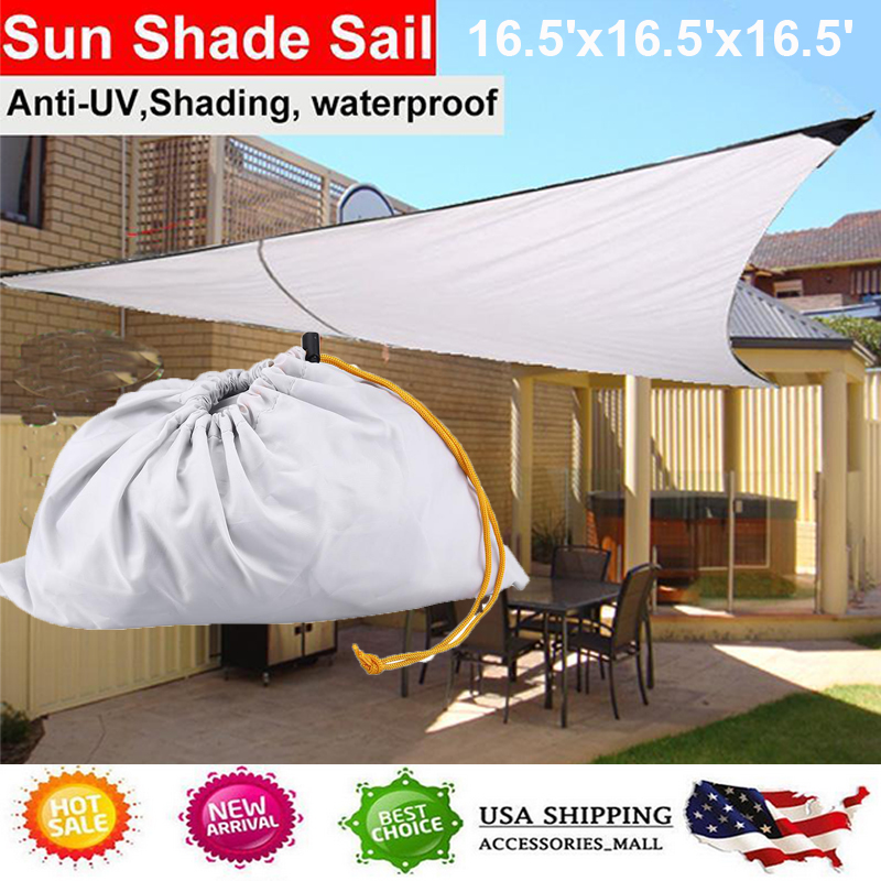 3df737644ea1 Details about Triangle Sun Shade Sail Outdoor Yard Pool Cover UV Block  Canopy Waterproof 16.5'