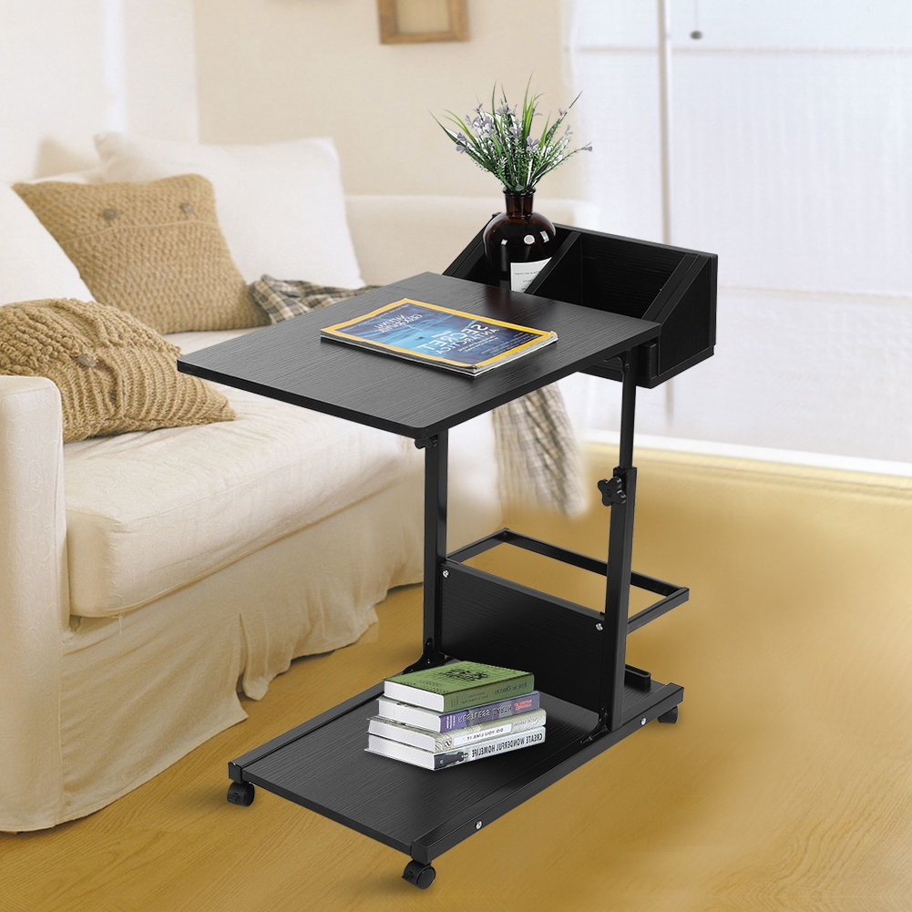Removable Side Table Sofa Bed Tray Laptop Table Computer Desk Workstation Wheel
