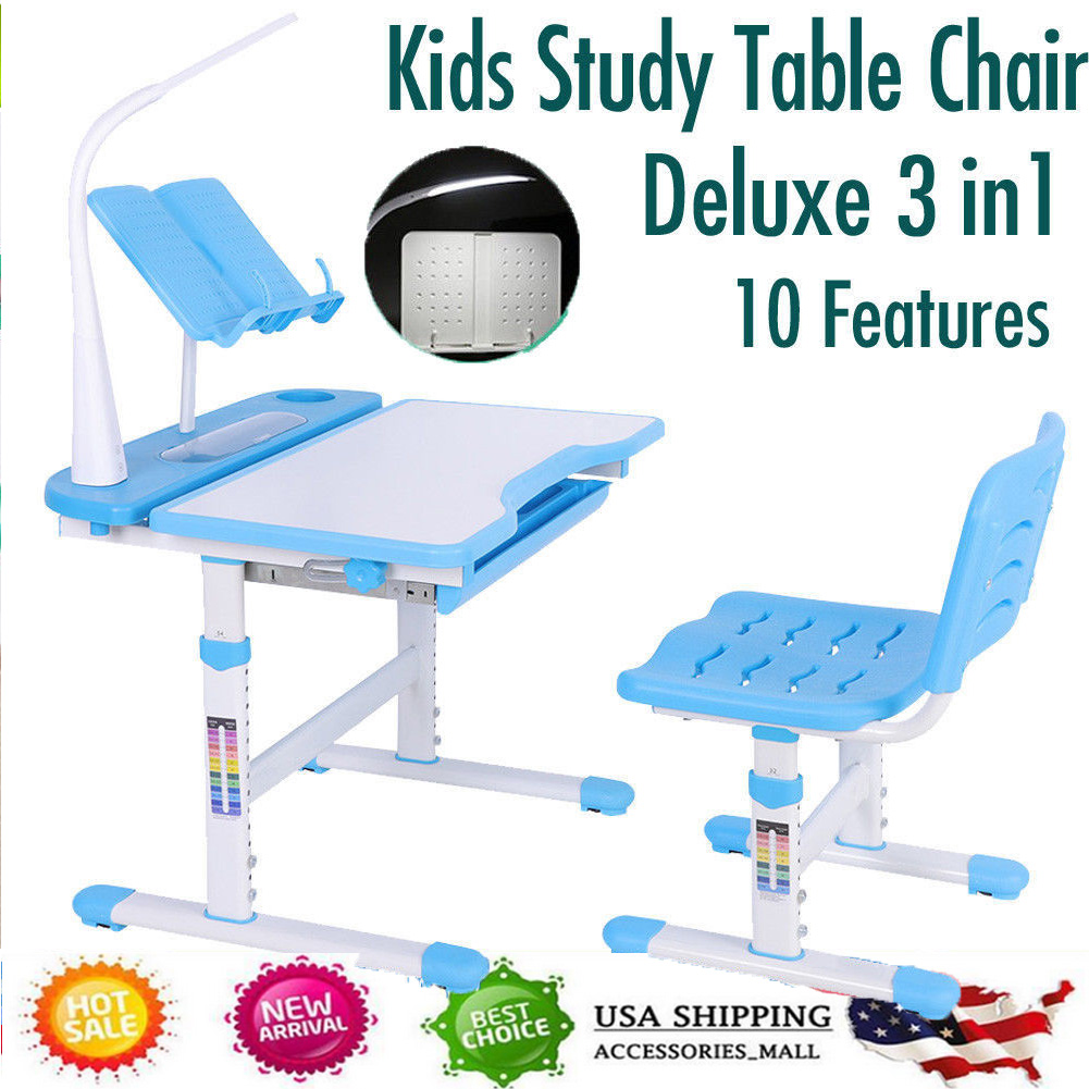 Awe Inspiring Details About Childrens Study Desk Chair Set Adjustable Height Kids Table W Desk Lamp Blue Us Theyellowbook Wood Chair Design Ideas Theyellowbookinfo