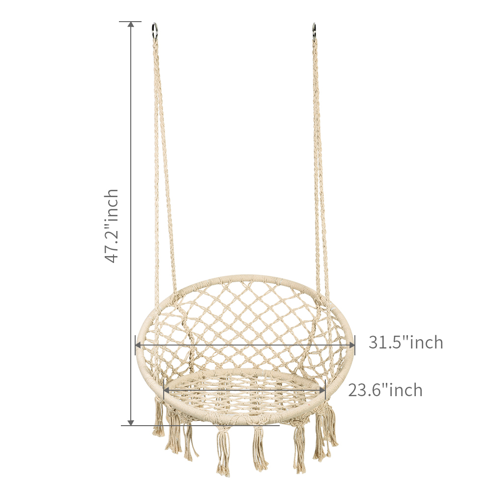 Hammocks Macrame Chairs: Made Of 100% Handmade Cotton, The Rope And Swing  Design Feature Macrame Net Chair Pattern With Fringe Tassels.