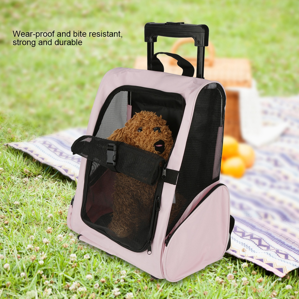 Portable Pet Luggage Bag Dog Travel Backpack Carrier W// Rolling Trolley Wheels