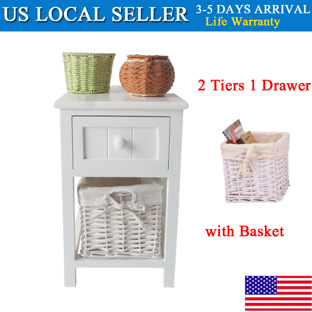 36da4e950069e Details about Night Stand Bedside End Table Organizer Bedroom Home Decor  with Basket White