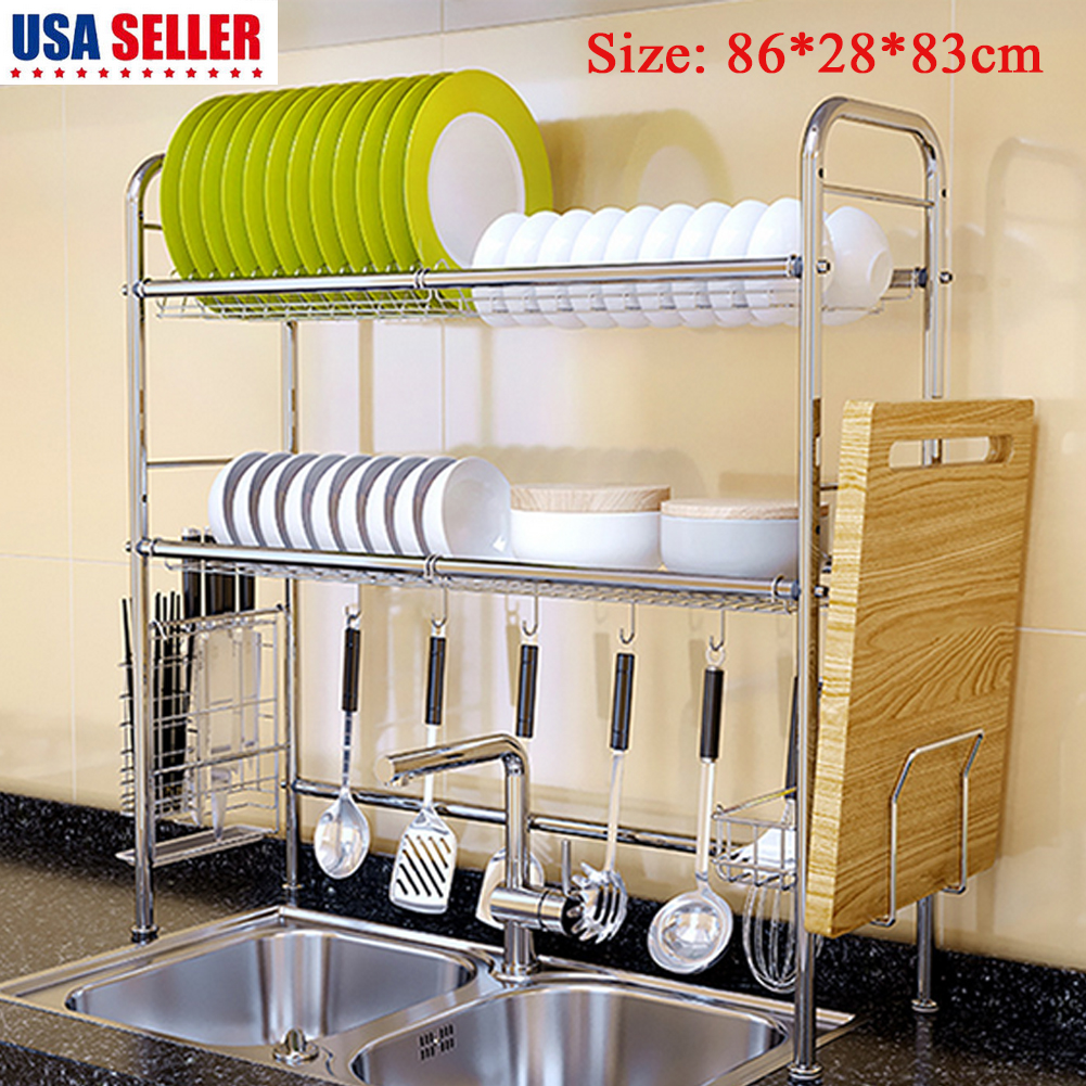 Details about 2 Tier Stainless Steel Over Sink Dish Drying Rack Shelf  Kitchen Cutlery Holder