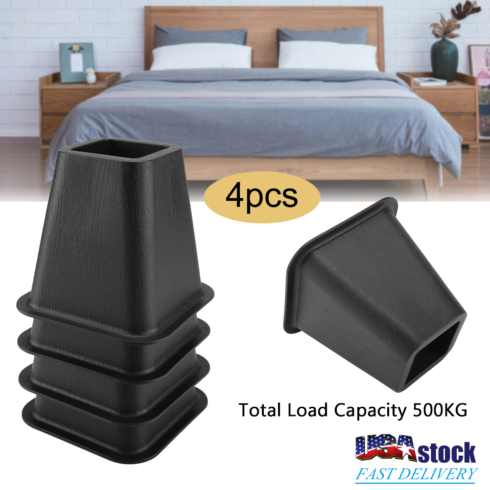 6 4pcs Black Table Desk Lifters Home Furniture Bed Legs Riser Total Load 500kg