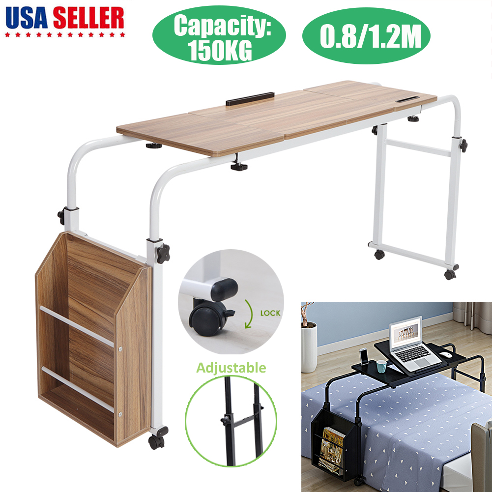 Details About Adjule Laptop Cross Bed Computer Table Desk Furniture W Storage Box Wheels