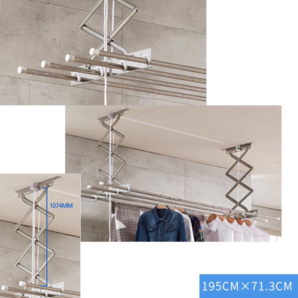 Details About Clothes Drying Rack Line Laundry Dryer Indoor Retractable Hanger Wall Mounted
