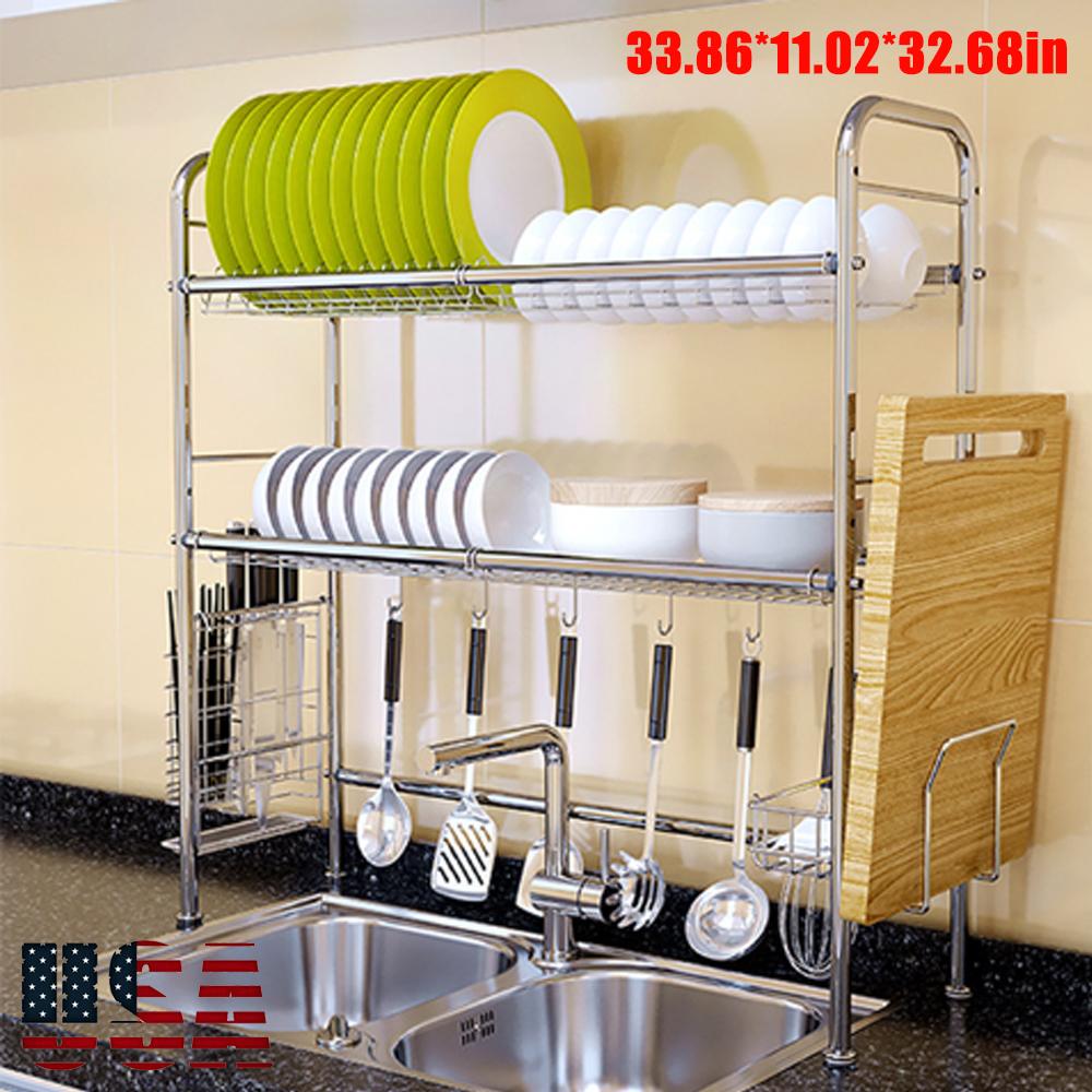 Etonnant Details About Stainless Steel Dish Rack Over Sink Bowl Shelf Organizer  Nonslip Cutlery Holder