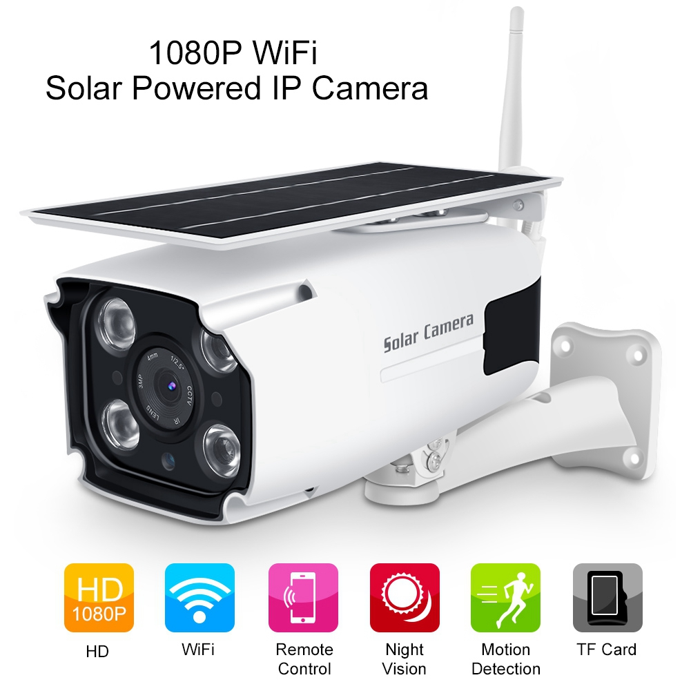 Night Vision 1080P HD Solar Powered Wireless Outdoor WIFI IP Surveillance Camera
