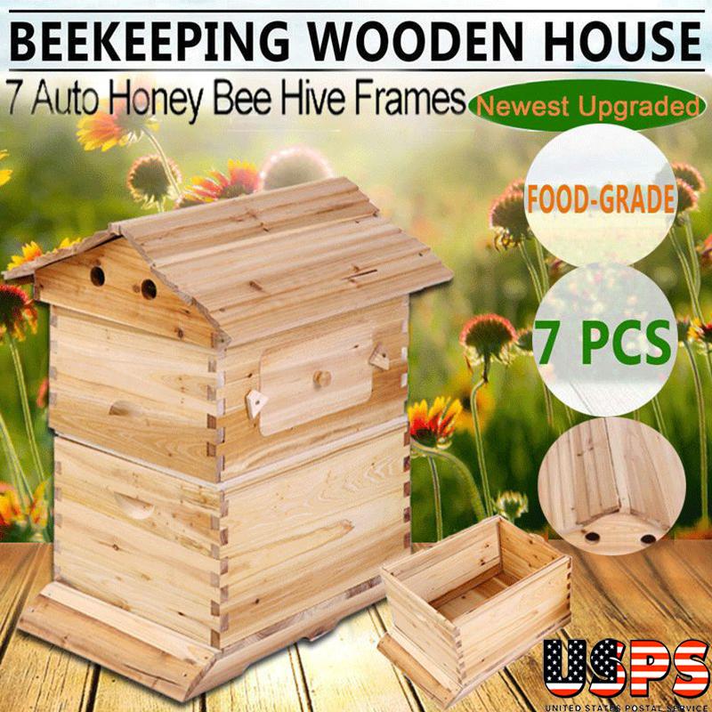 2 Layers Bee Hive Frames Auto Honey Beekeeping Box Beekeeper Honey Automatic